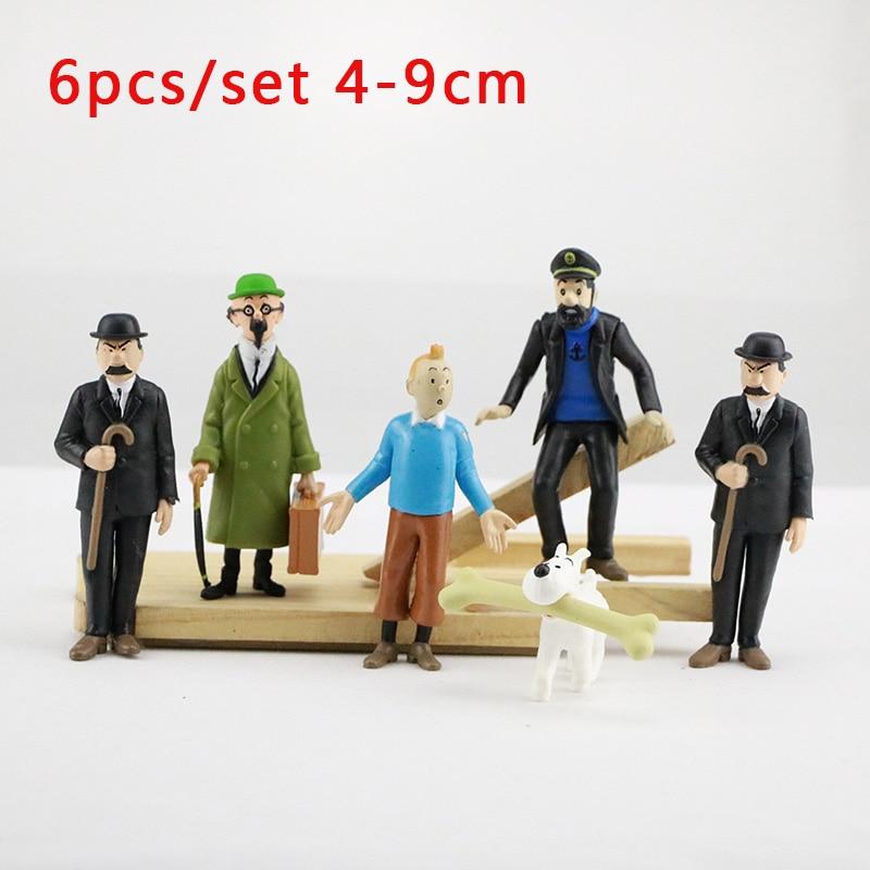 Modelo de animación figuras de PVC figura de acción de las aventuras de Tintín de dibujos animados 6 unids/set 4-9cm Hobby muñecas chico juguete para regalo