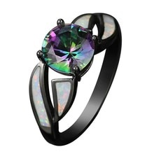 Noir pistolet plaqué arc-en-ciel AAA zircon cubique anneaux pour les femmes offre spéciale de mode bijoux en cristal autrichien Unique bague de Cocktail de fête