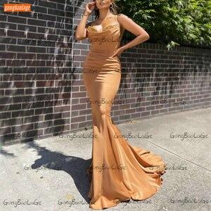Sexy Gold Evening Dresses Mermaid 2021 Vestidos De Fiesta De Noche Custom Made Abiti Da Cerimonia Da Sera Long Women Party Gowns
