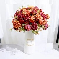 artificial fake flowers rose hydrangea silk flower bridal bouquets wedding party home living room decoration accessories