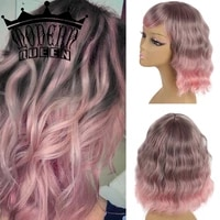 modern queen short wavy cosplay wigs with bangs synthetic ombre colors pink grey purple wigs heat resistant for women cosplay