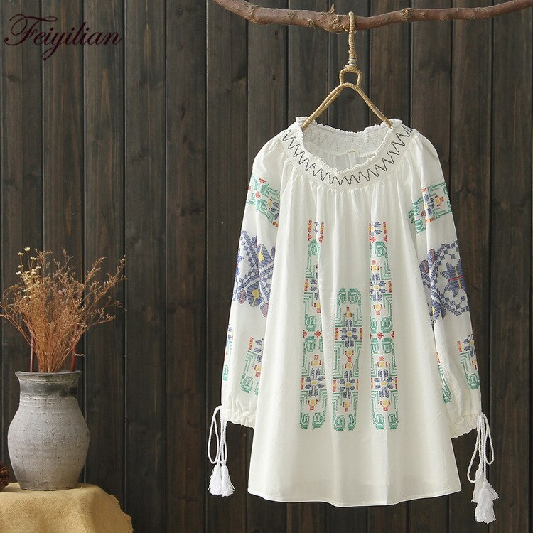Feiyilian primavera otoño nuevo estilo de estilo artístico corbata de bordado camisa de cuello redondo mujeres suelta delgada algodón cáñamo camisa de bebé
