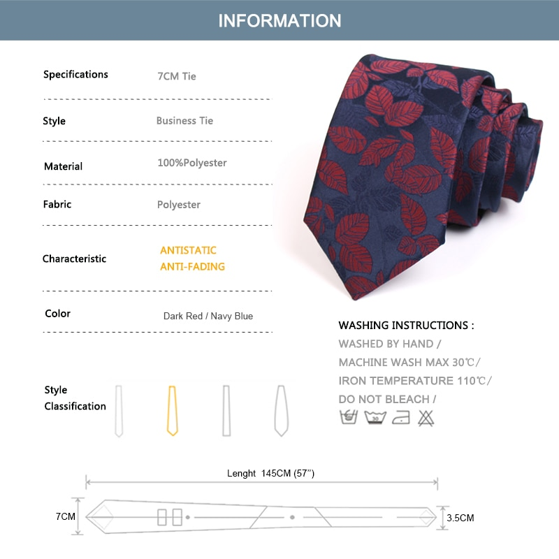 2020 New Design Fashion Causal Leaf Print Ties High Quality 7CM Navy Blue Tie For Men Business Suit Work Necktie With Gift Box
