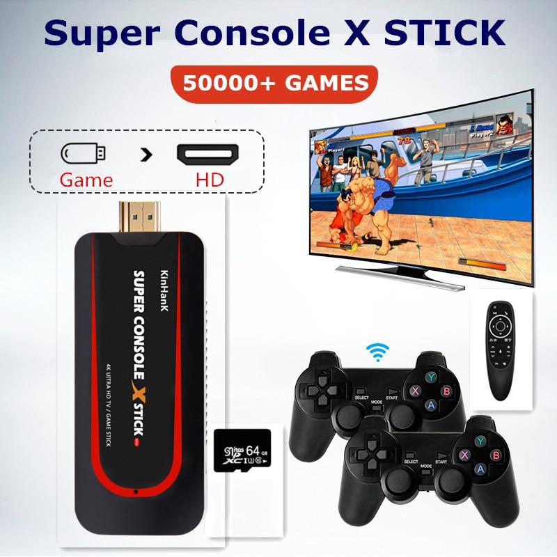 سوبر وحدة X عصا الرجعية لعبة وحدة ل PS1/N64/DC 50000 + ألعاب 4K HD التلفزيون كابل مربع المحمولة لعبة فيديو اللاعبين Wirelsssx2