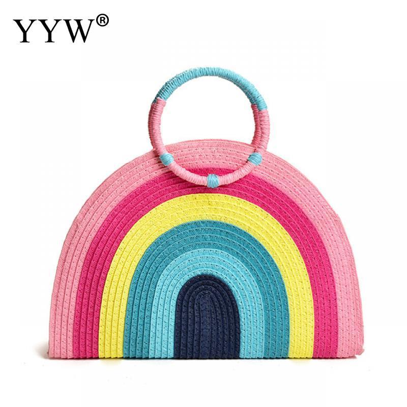 2021 яркая Радужная ручная плетеная Сумка, ручная сумка Starw, женская пляжная сумка, летняя сумка, женская модная сумка, женская сумка