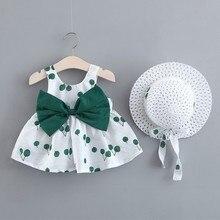 2 stücke Sommer Neugeborenen Baby Kleid Mit Sonnenhut Mädchen Kirsche Drucken Kleider Sommer Infant 0-3Year Mädchen Geburtstag Kleid Mit Bogen