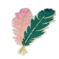 colors pink green dreamy feather appliques sew iron on sequin patches embroidered badges for clothes diy craft decoration