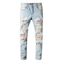 Marque de mode déchiré trou jean hommes rose Patchwork Slim fit Hi Street jean bleu clair Stretch pantalon en Denim maigre pantalon 2020