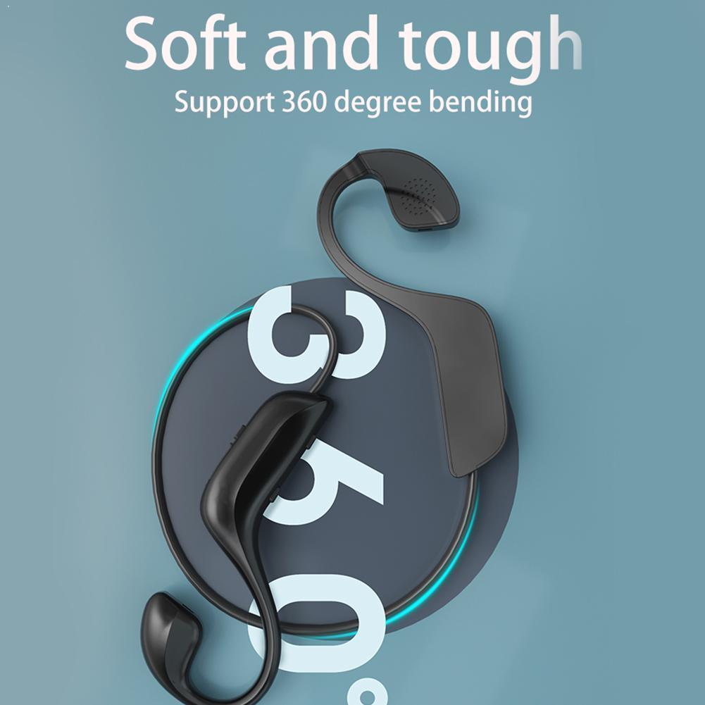 Auriculares inalámbricos Bluetooth 5,0 180mAh, auriculares de conducción ósea, micrófono para deportes al aire libre, manos libres con auriculares J1N5