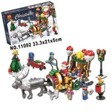 11092 In Stock New Winter Holiday Santa Ride Deer 221 Pcs Model Building Blocks Bricks Toy For Children Christmas Gifts
