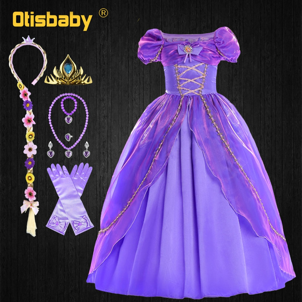 Vestido de Rapunzel para niña, disfraz para carnaval navideño Floral, vestidos de...