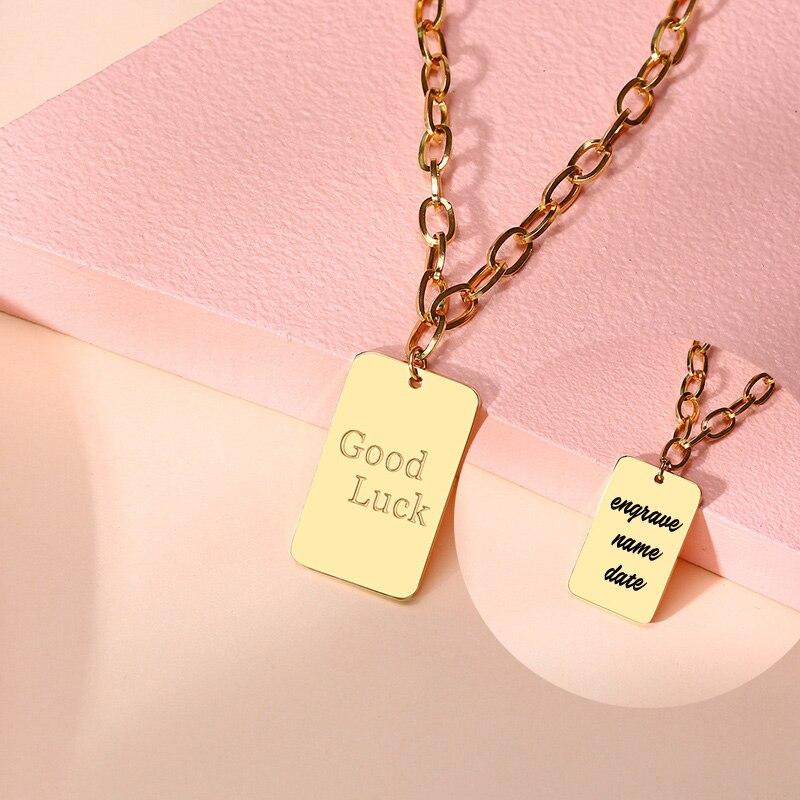 Collar de buena suerte grabado, nombre personalizado de acero inoxidable, etiquetas colgantes de perro para regalo de pareja de amigos