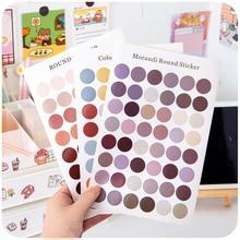 1Sheet Morandi color Round Dot Stickers mutifunctional Decorative Kawaii Deco Sticker DIY Diary Album Label Stationery Scrapbook