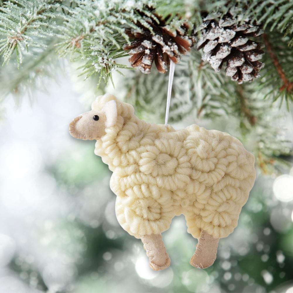 2020 oveja Año Nuevo decoraciones hechas a mano oveja rizada árbol de Navidad adorno colgante casa Navidad árbol muñeca decoración regalo 14*12cm