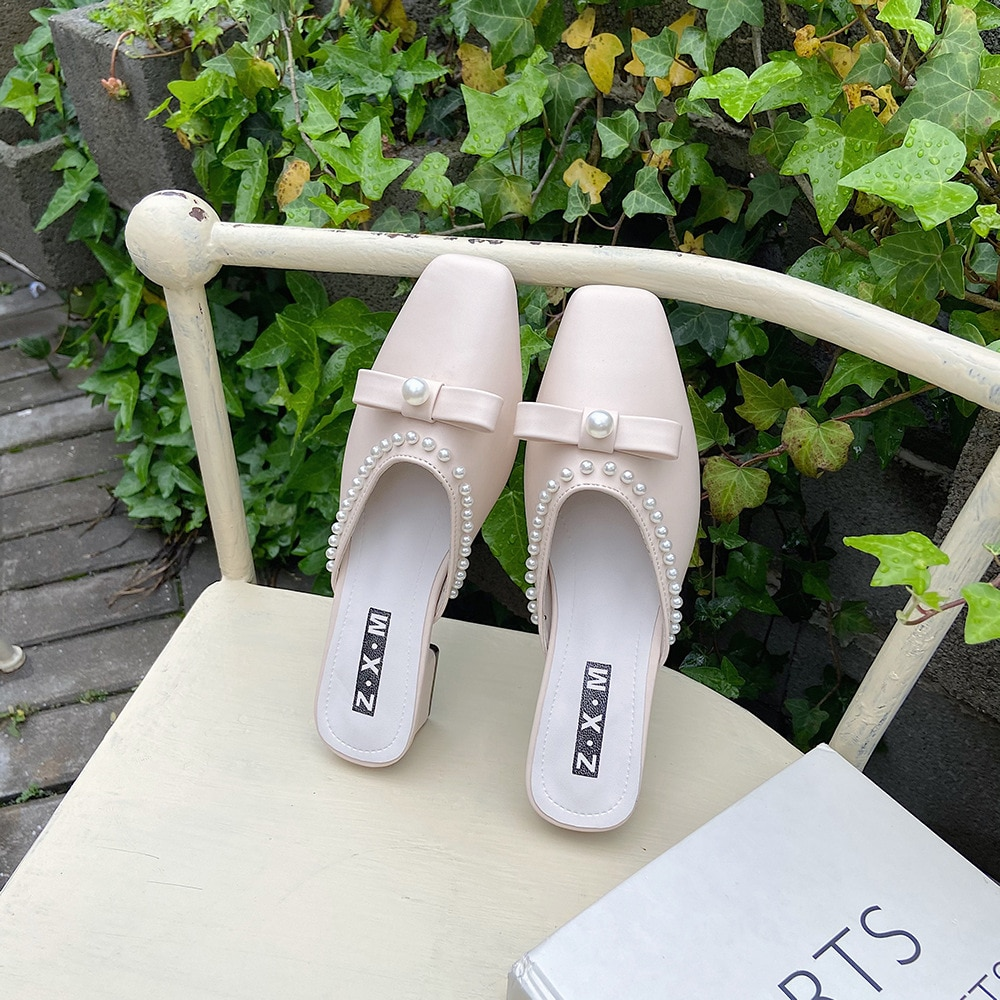 Summer 2021 Women Mules Shoes Elegant Ladies Pumps Sexy Pointed Toe Pearl Thick Heel Slip-on Female Fashion Footwear  - buy with discount