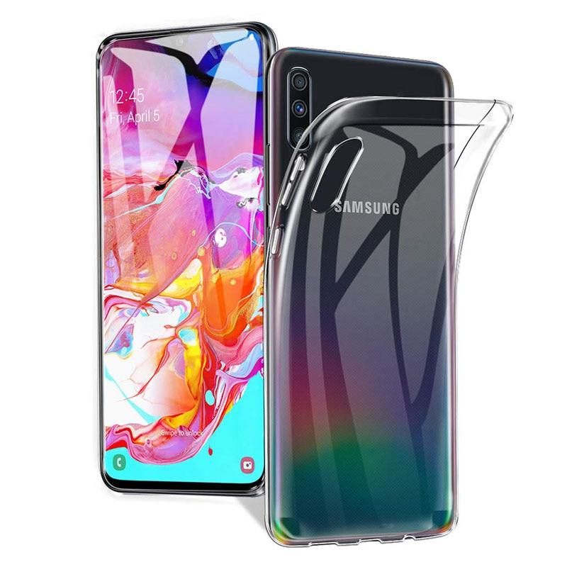 Caso transparente tpu macio para samsung galaxy a10 a20 a30 a40 a50 a70 capa traseira do telefone móvel fino claro silicone funda capa