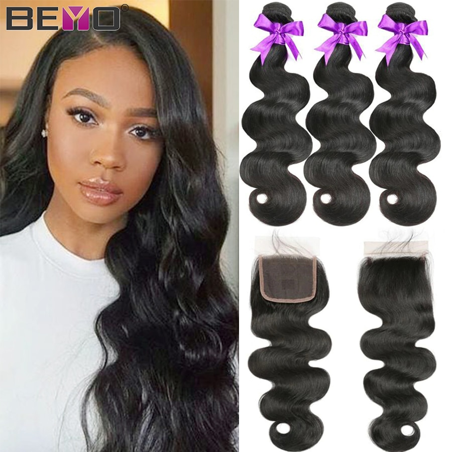 Body Wave Bundles With Closure Brazilian Hair Weave Bundles With Closure Non Remy Human Hair Bundles With Closure Beyo Hair 4pcs