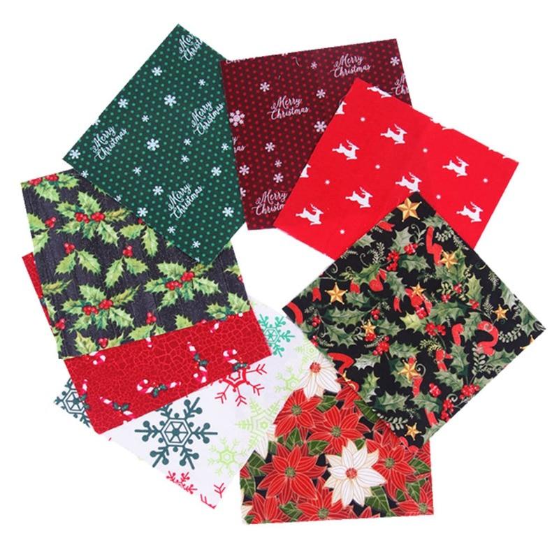 5/10pcs Christmas Series Cotton Fabric Printed Cloth Sewing Quilting Fabrics Patchwork Needlework DIY Handmade Material 20x25cm