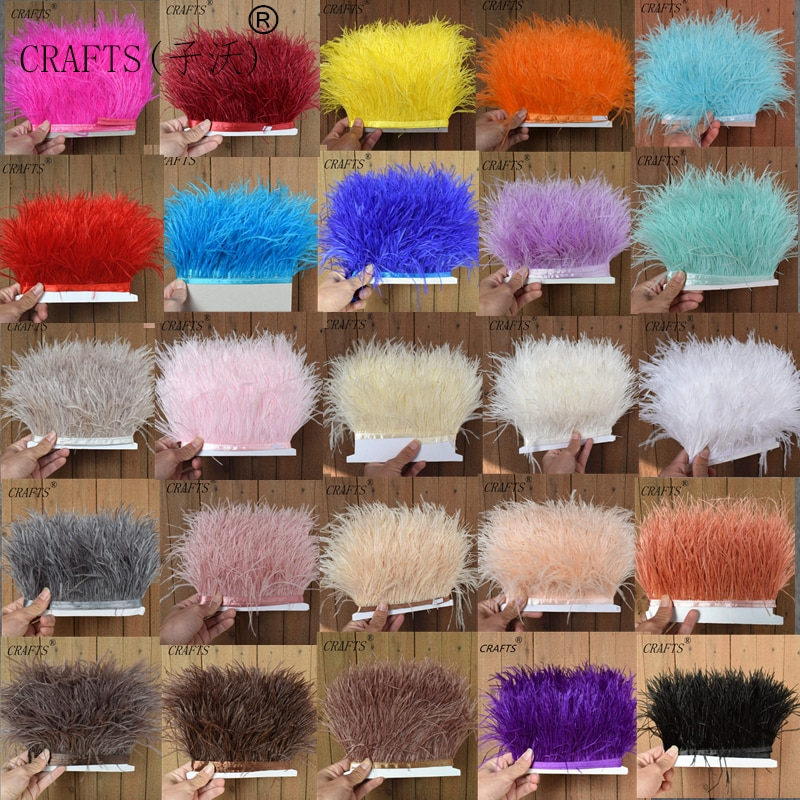 1 metro de tela esponjosa hermosa pluma de avestruz banda lateral 8-11cm de ancho adecuado para faldas/vestidos/ropa de fiesta DIY craf