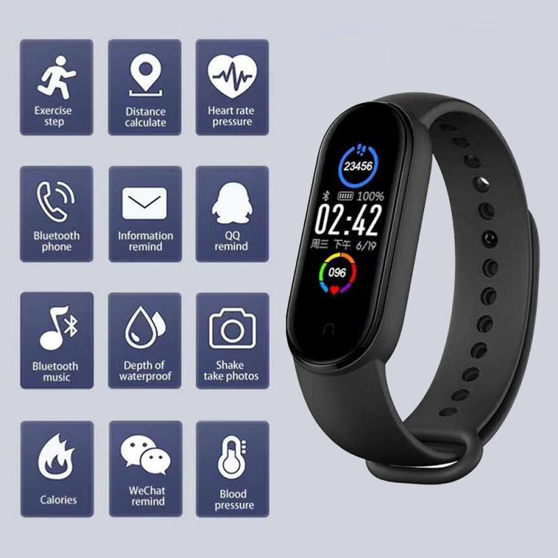 M5 Smart Band New M4 Sport Smart Watch Men Woman Blood Pressure Heart Rate Monitor Fitness Bracelet Pedometers for Android IOS