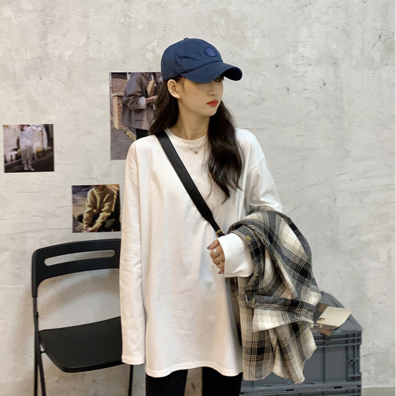 Mid-length Slit Inner Bottoming Shirt Spring and Autumn and Winter Top 2021 New Style Plus Velvet Th