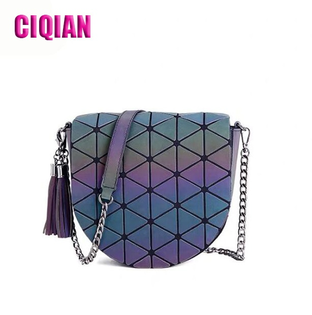 2021 Luminous handbag Geometry Simply PU Leather Crossbody Bags For Women Shoulder Messenger Bag Lady Chain Travel Small saddle