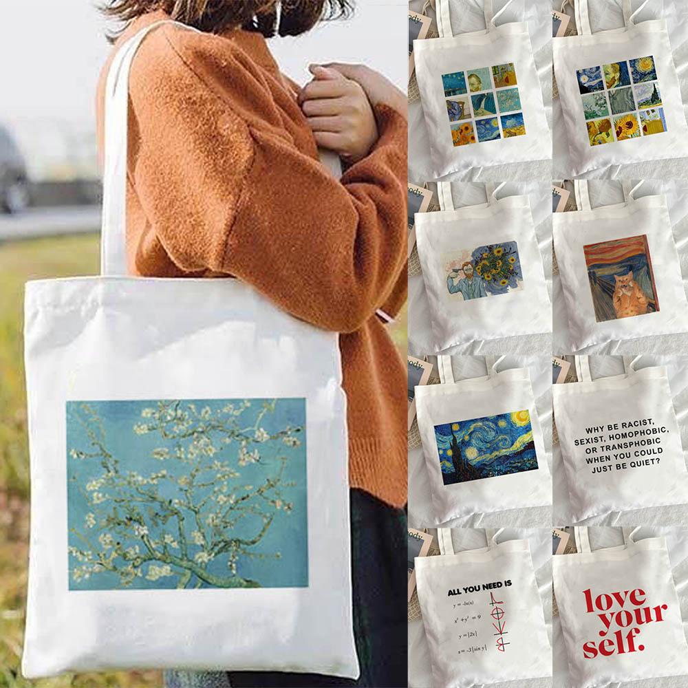 Van Gogh shopping Bag Art Oil Painting Graphic Canvas Shoulder Cute Female Harajuku Ulzzang Grunge Tote Shopper