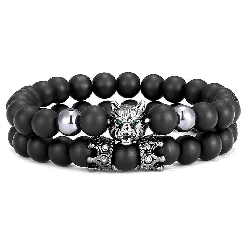 Punk wolf head bracelet set fashion animal crown black natural stone couple bracelet men's bicycle handmade jewelry accessories