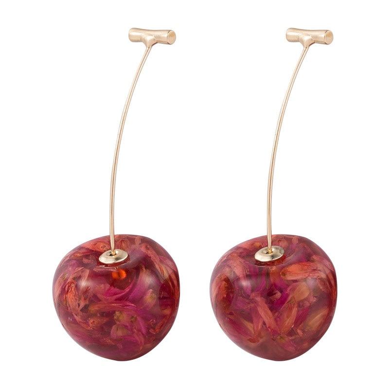 Brincos pendurados com borla... joia de cristal vermelho cereja e dourada