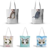 cute cat women bags large capacity harajuku cartoon printed hip hop shopping bag canvas bag funny womens shoulder bags