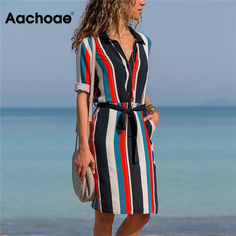 aliexpress.com - Aachoae Dress 2020 Summer Striped A-line Print Boho Beach Dresses Women Long Sleeve Office Shirt Dress Mini Party Dress Vestidos