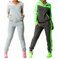 2020 autumn winter two piece tracksuit jogging suits for women sport suits patchwork hooded running sets sweat pants