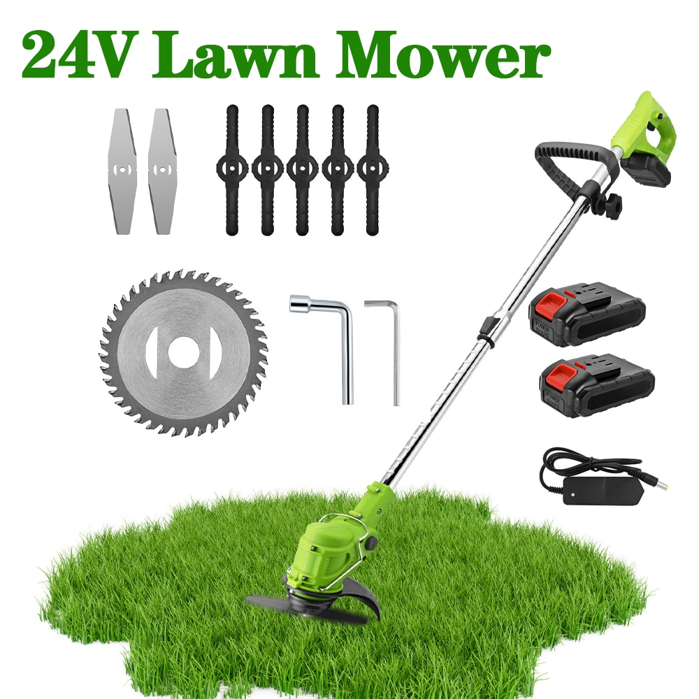 24 V Cordless Trimmer Lithium Electric Trimmer Portable Electric Lawn Mower Garden Home Lawn Weeding Tools With Telescopic Pole