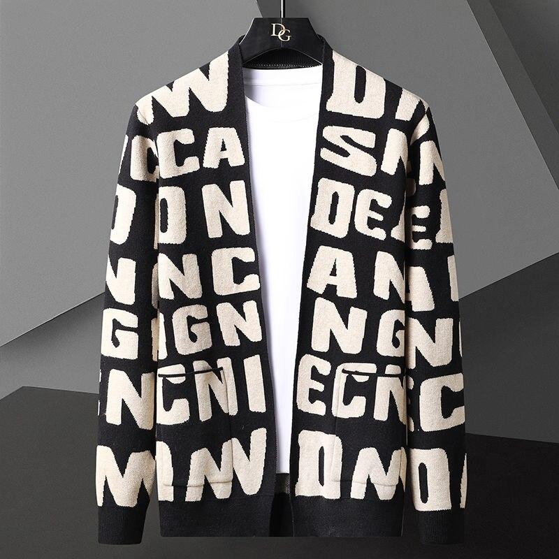 موضة الخريف متماسكة مخطط سترة سترة الرجال الكورية البلوزات معطف الرجال الملابس مصمم إلكتروني سترة الرجال سويتر دي Hombre