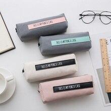 Korean Students Simple Color Pencil Bag Canvas Boys and Girls School Supplies Students Pencil Case