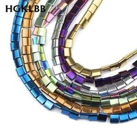 hgklbb plated natural stone two holes gold black hematite beads 5x5mm square spacer loose beads for jewelry making diy bracelets