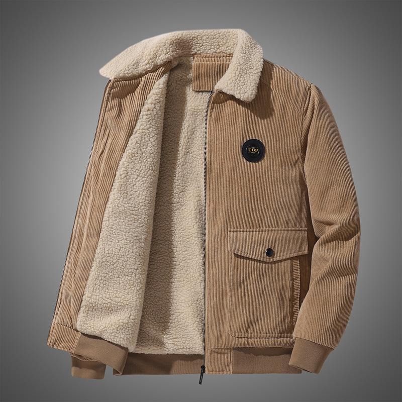 Winter Warm Thicken Corduroy Jackets Men Fur Collar Khaki Coat 2021 New Casual Solid Color Loose All