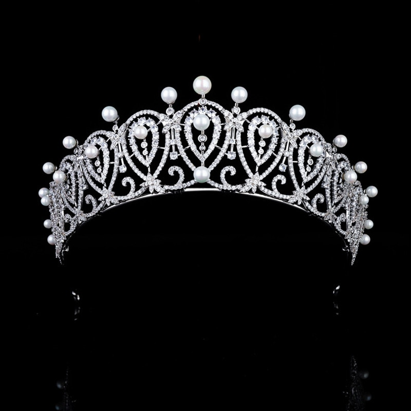 Luxury Wedding Pearl Zircon Bridal Crown New Micro Inlaid CZ Crown Bride Tiaras Headdress Hair Jewelry HQ0323