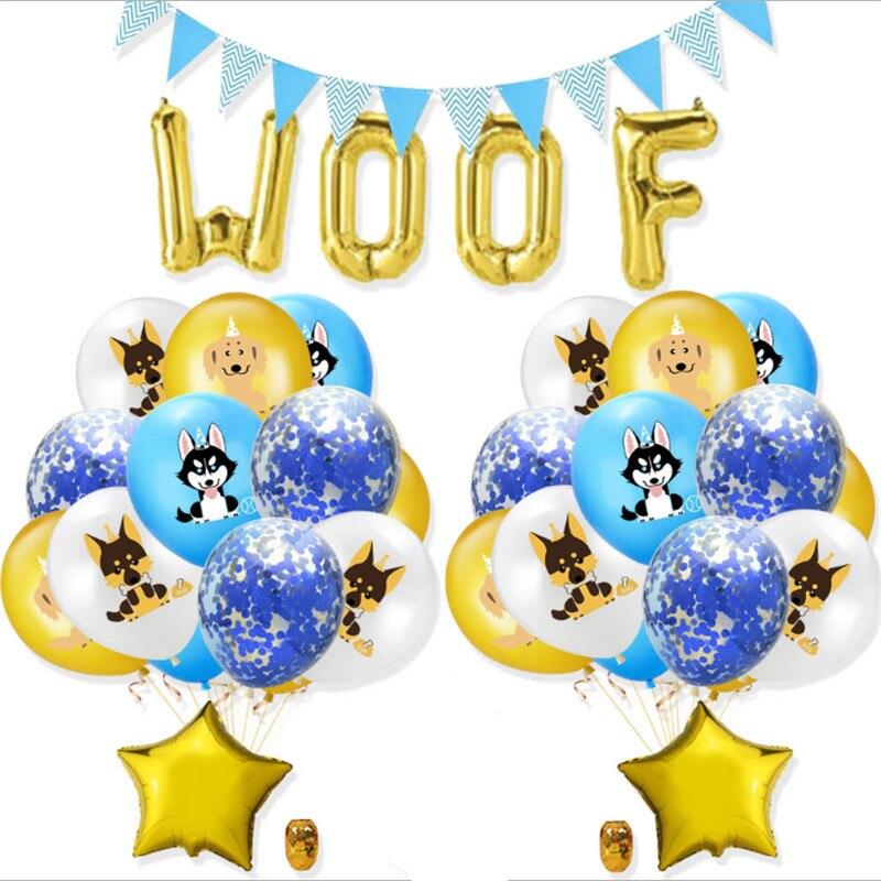 Nuevo estilo Woof, película de aluminio para perro mascota, juego de globos de caucho, suministros de decoración para fiesta y cumpleaños de 12 pulgadas