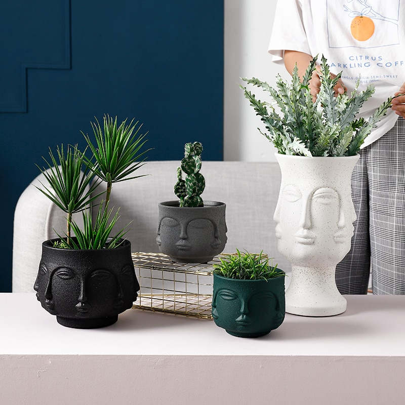 Nórdico abstrato facetado rosto vaso de cerâmica vasos flores casa planta vaso moda porcelana vaso para decoração casamento acessórios