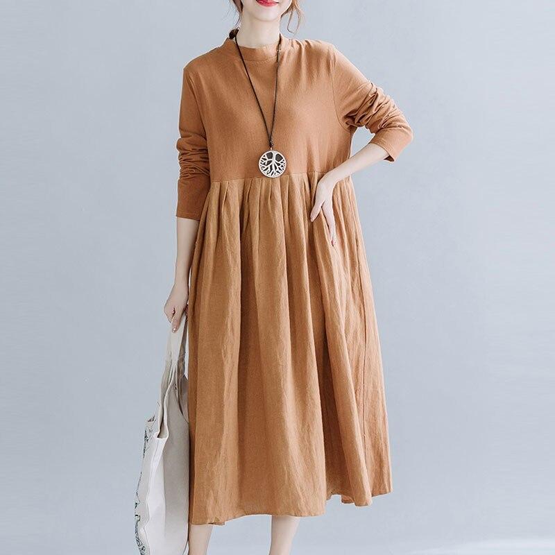 فستان طويل من القطن والكتان ، وصل حديثًا ، نمط بسيط ، لون عادي ، فضفاض ومريح ، غير رسمي ، مجموعة خريف 2020 الجديدة S1903