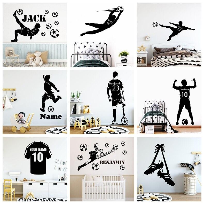 Grande futebol nome personalizado adesivo de parede vinil fc decalques para crianças meninos quarto mural decoração decalque da parede adesivos
