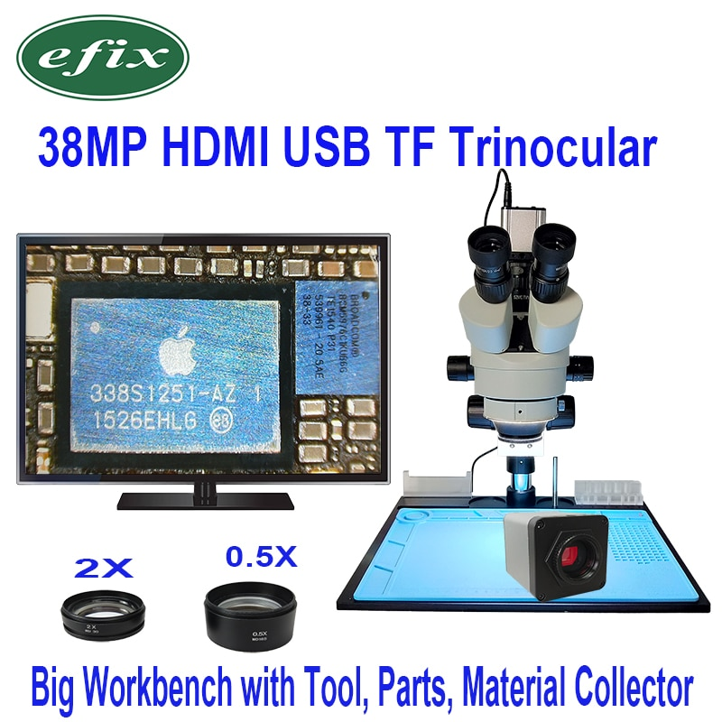 Efix 3,5 X-90X Simul-Brenn Doppel Boom Stand Trinocular Stereo Zoom Mikroskop 38MP HDMI Kamera LED Licht Microscopio