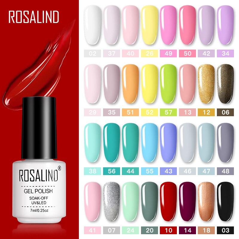 ROSALIND-Conjunto de Gel para manicura, barniz artístico, abrillantador semipermanente y Gel UV LED para la capa superior de las uñas