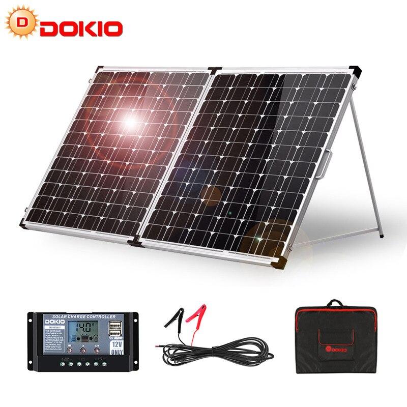 Dokio 100 واط 160 واط 200 واط لوحة شمسية قابلة للطي الصين 10A/20A 12 فولت تحكم لوحة شمسية قابلة للطي خلية/نظام شاحن الألواح الشمسية