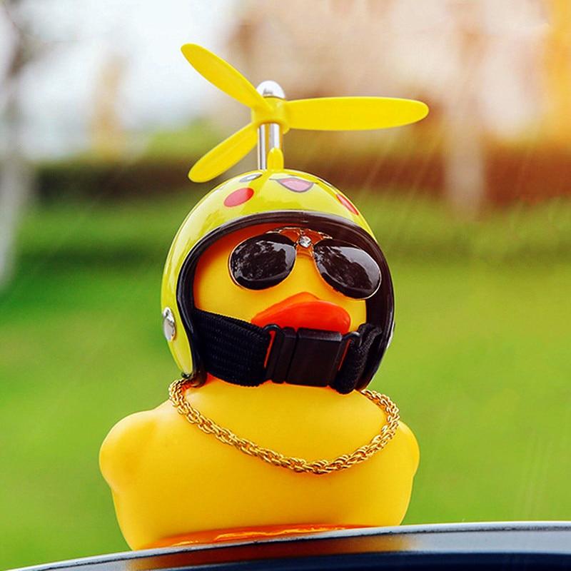 Car Goods Gift Broken Wind Helmet Small Yellow Duck Car Decoration Accessories Wind-breaking Wave-breaking Duck Cycling Decor