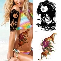 fake tattoo for woman waterproof roses colorful flowers peony sketches tattoos wolf leopard beast monster fake tattoo butterfly