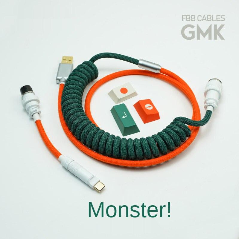 اليدوية مخصص مضفر دوامة البيانات الربيع خط نوع C كابلات FBB GMK الوحش كولورواي الأحمر والأخضر لوحة المفاتيح المخصصة خط