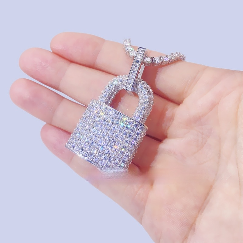 P&Y Custom Design Hip Hop Bling Jewelry VVS Moissanite Iced Out 925 Sterling Silver Lock Pendant