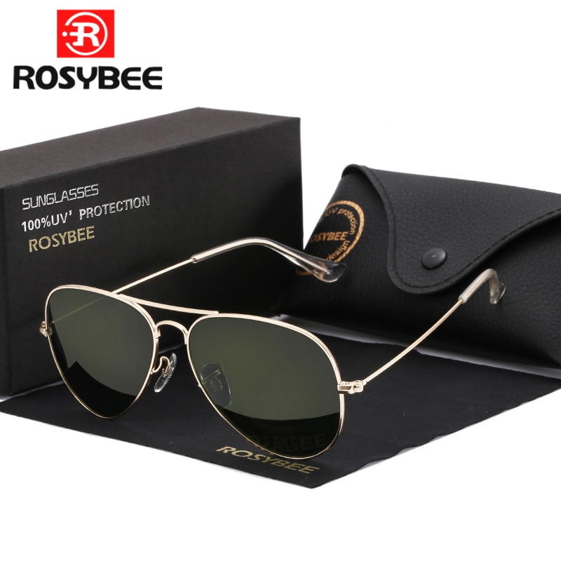 High Quality G15 Glass Lens women men Sunglasses uv400 aviation brand classic mirror male oculos vin